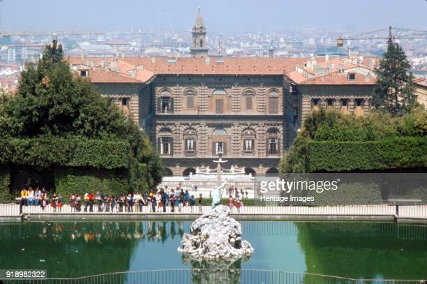 Pitti Palace and the Boboli Gardens in August Florence Italy c20th century The Palazzo Pitti sometimes called the Pitti Palace is a vast mainly...