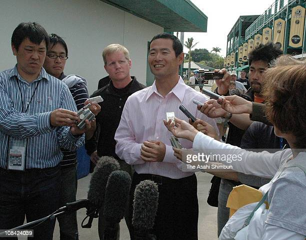 Pittsburg Pirates pitcher Masumi Kuwata speaks to the reporters as he announces his retirement on March 26 2008 in Bradenton Florida