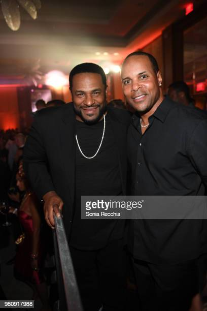 Pittsburg Steelers Hall of Famer Jerome Bettis and Cincinnati Reds Hall of Fame Legend Barry Larkin attend Joe Carter Classic After Party at Ritz...
