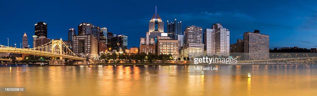 Pittsburgh Blue Hour Panorama : Stock Photo