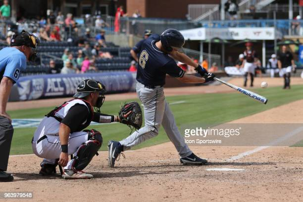 Pittsburgh catcher Caleb Parry about to hit the ball during the ACC Baseball Championship game between the Pittsburgh Panthers and the Louisville...