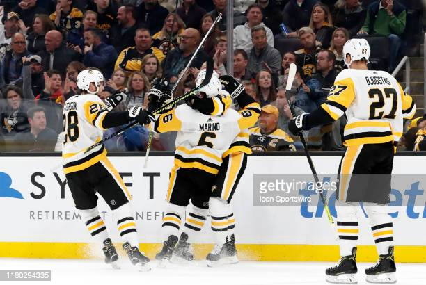 Pittsburgh celebrates the goal from Pittsburgh Penguins defenseman John Marino during a game between the Boston Bruins and the Pittsburgh Penguins on...