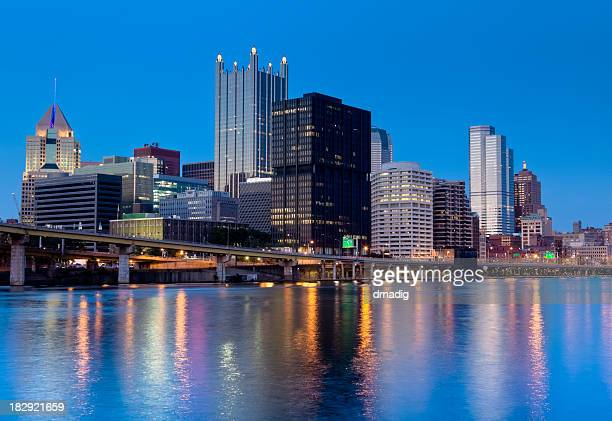 Pittsburgh City Lights Reflecting on the Water at Dusk