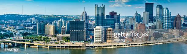 Pittsburgh Cityscape Overlooking Monongahela River in Late Afternoon - Panorama