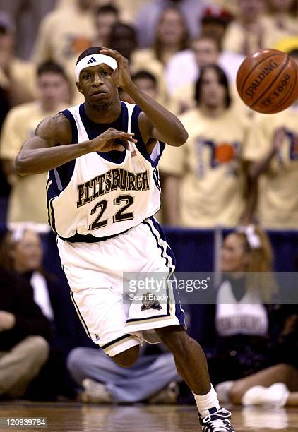 Pittsburgh guard Antonio Graves passes the ball upcourt Pittsburgh defeated Syracuse 7669 at the Petersen Events Center in Pittsburgh Pennsylvania on...