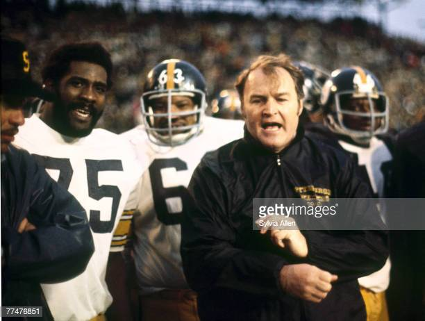 Pittsburgh head coach Chuck Noll with wide receiver coach Lionel Taylor Hall of Fame defensive tackle Joe Greene and defensive tackle Ernie Holmes...