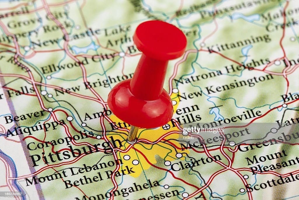 Pittsburgh Map Pennsylvania Usa Stock Photo Getty Images