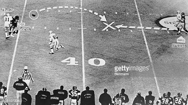 Pittsburgh, Pa.: With 22 seconds left in the Steeler-Raider playoff game, Steeler quarterback Terry Bradshaw threw a 4th down desperation pass...