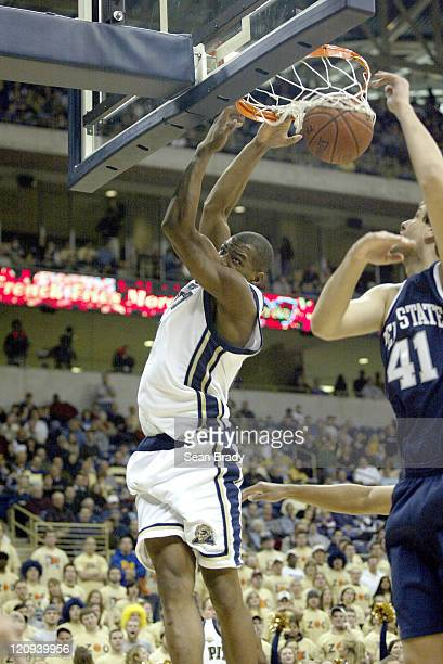 Pittsburgh Panther Sam Young completes a dunk against Penn State at the Petersen Events Center on December 10 2005 in Pittsburgh Pennsylvania...