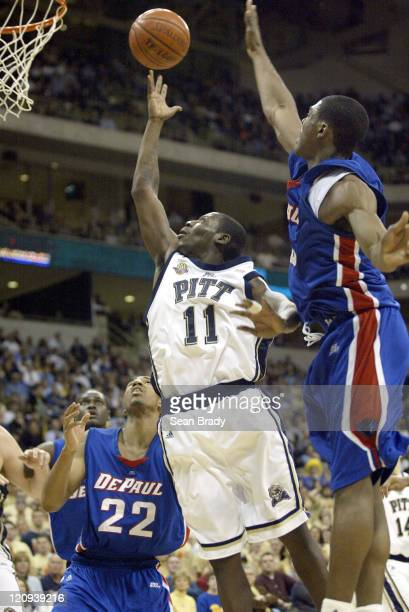 Pittsburgh Panthers Carl Krauser lays in 2 points during action against DePaul at the Petersen Events Center on January 12, 2006 in Pittsburgh,...