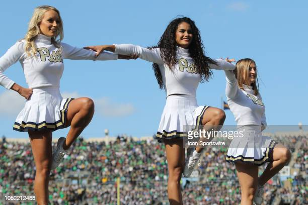 Pittsburgh Panthers cheerleaders performing during the college football game between the Notre Dame Fighting Irish and Pittsburgh Panthers on October...
