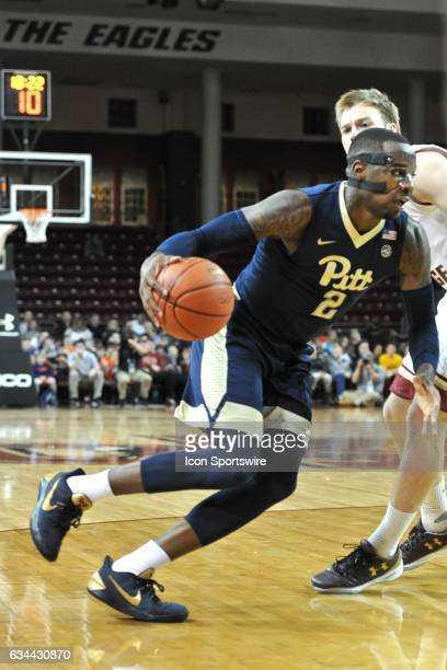 Pittsburgh Panthers forward Michael Young drives hard to the basket During the Pittsburgh Panthers game against the Boston College Eagles on February...