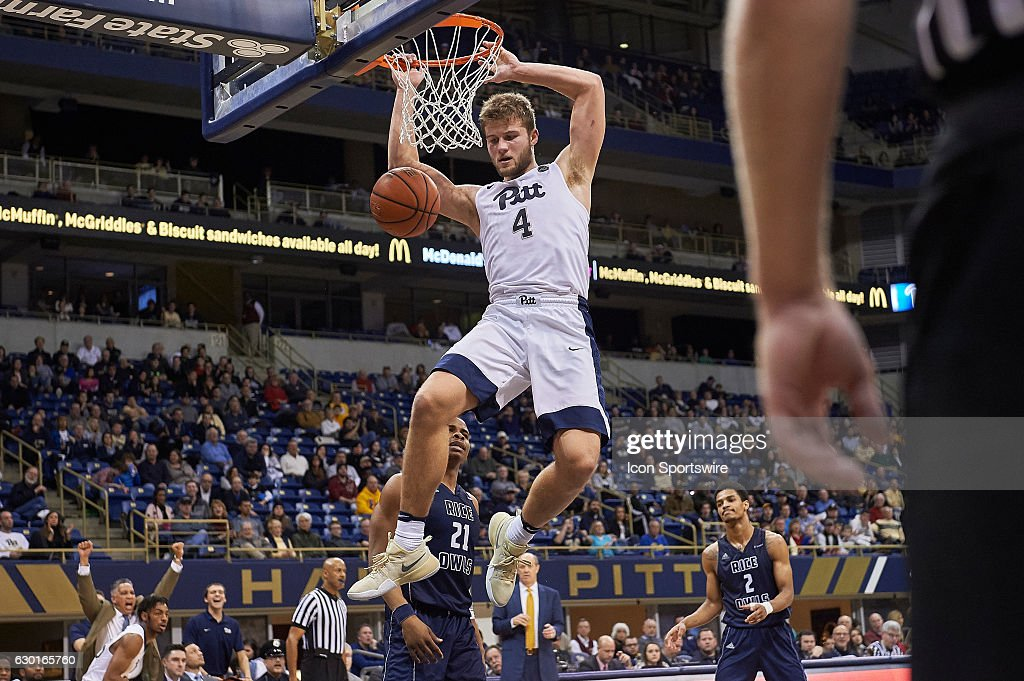 Pittsburgh Panthers forward Ryan Luther (4) slam dunks the ball during an NCAA basketball game between Pittsburgh Panthers and Rice Owls on December 17, 2016 at the Petersen Events Center in Pittsburgh, PA.