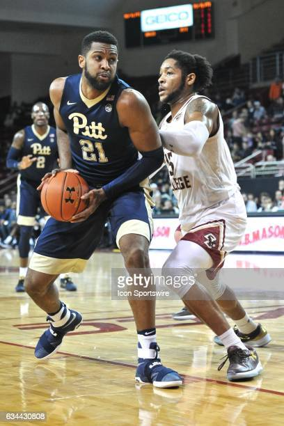 Pittsburgh Panthers forward Sheldon Jeter makes the turn and tries to get around Boston College Eagles forward Mo Jeffers During the Pittsburgh...