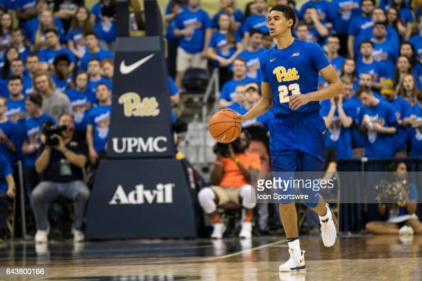 Pittsburgh Panthers Guard Cameron Johnson brings the ball up court during the college basketball game between the Florida State Seminoles and the...