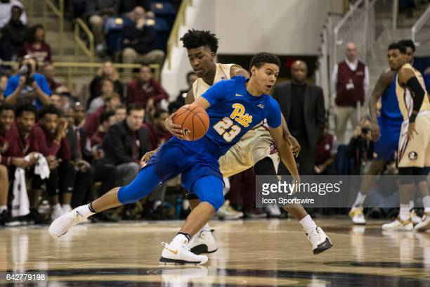 Pittsburgh Panthers Guard Cameron Johnson dribbles by a defender during the college basketball game between the Florida State Seminoles and the...