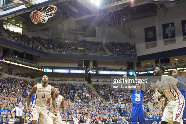 Pittsburgh Panthers guard Cameron Johnson shoots a free throw during a basketball game between Pittsburgh Panthers and Florida State Seminoles on...