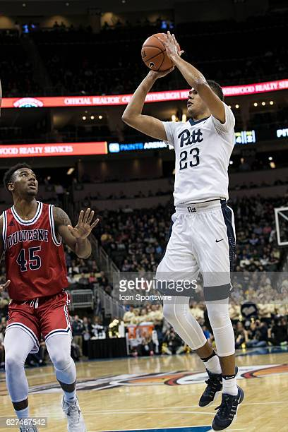 Pittsburgh Panthers Guard Cameron Johnson shoots an open jump shot during the NCAA Men's Basketball game between the Duquesne Dukes and the...