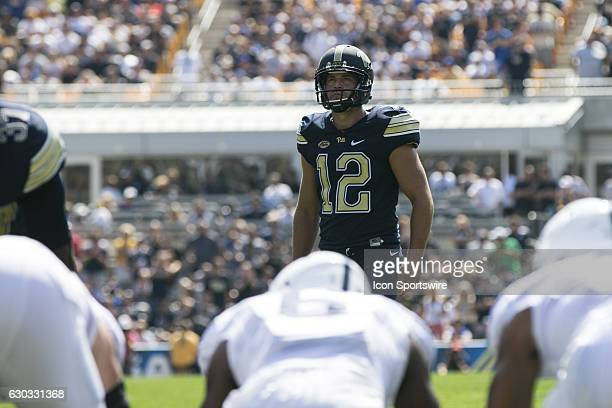Pittsburgh Panthers Kicker Chris Blewitt lines up a field goal attempt during the NCAA Football game between the Penn State Nittany Lions and...