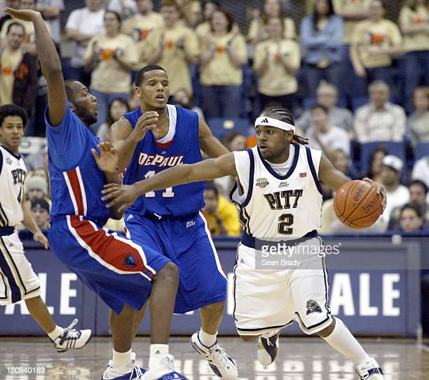 Pittsburgh Panthers Levance Fields kills the clock during the last 2 minutes of play against DePaul at the Petersen Events Center on January 12, 2006...