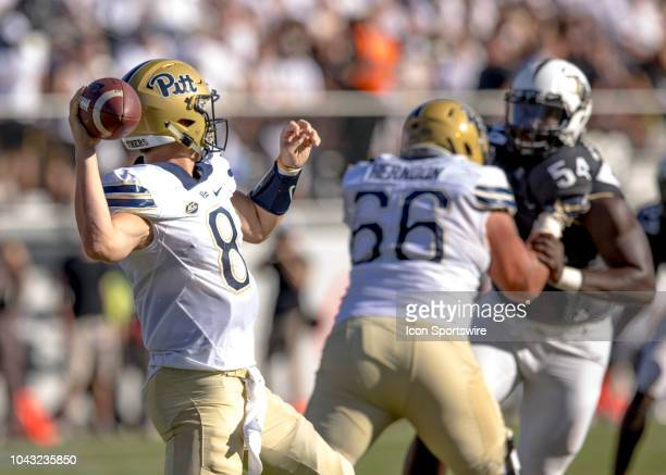 Pittsburgh Panthers quarterback Kenny Pickett drops back to pass the ball during the football game between the UCF Knights and Pitt on September 29...