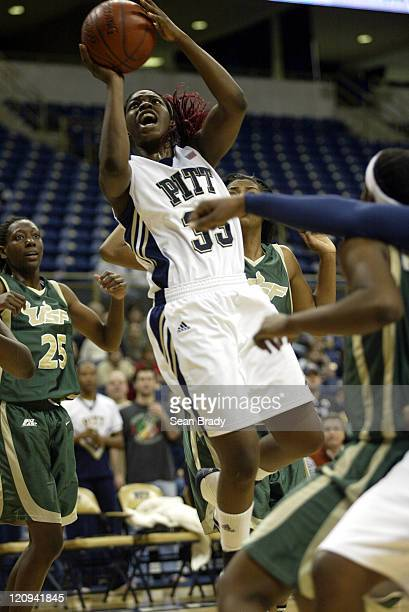 Pittsburgh Panthers Xenia Stewart drives to the hoop during action against South Florida at the Petersen Events Center on January 8 2006 in...
