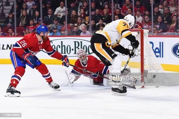 Pittsburgh Penguins center Evgeni Malkin misses his shot on Montreal Canadiens goalie Carey Price during the Pittsburgh Penguins versus the Montreal...