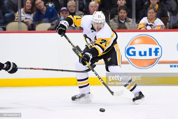 Pittsburgh Penguins Center Evgeni Malkin passes the puck during the third period in the NHL game between the Pittsburgh Penguins and the Anaheim...