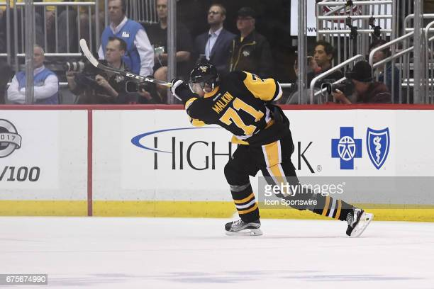 Pittsburgh Penguins Center Evgeni Malkin shoots and scores during the third period in Game Three of the Eastern Conference Second Round in the 2017...