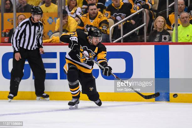 Pittsburgh Penguins center Evgeni Malkin shoots the puck from the point during the second period in Game 3 of the First Round in the 2019 NHL Stanley...