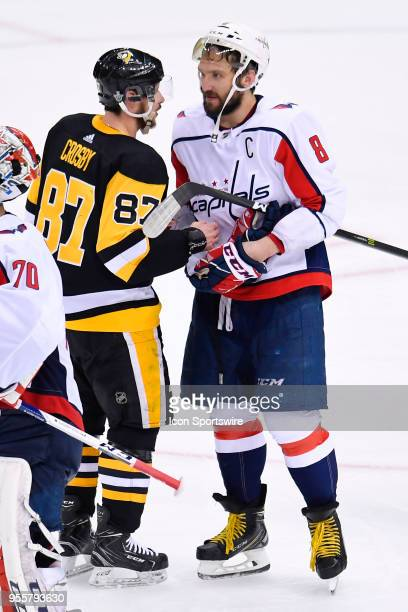 Pittsburgh Penguins center Sidney Crosby and Washington Capitals Goalie Alexander Ovechkin shake hands after the Washington Capitals defeated the...