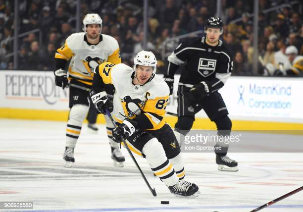 Pittsburgh Penguins Center Sidney Crosby brings the puck past the blue line during an NHL game between the Pittsburgh Penguins and the Los Angeles...
