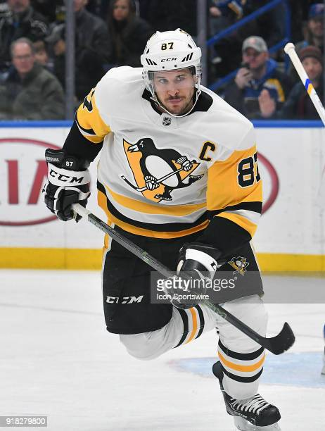 Pittsburgh Penguins center Sidney Crosby during a NHL game between the Pittsburgh Penguins and the St Louis Blues on February 11 at Scottrade Center...