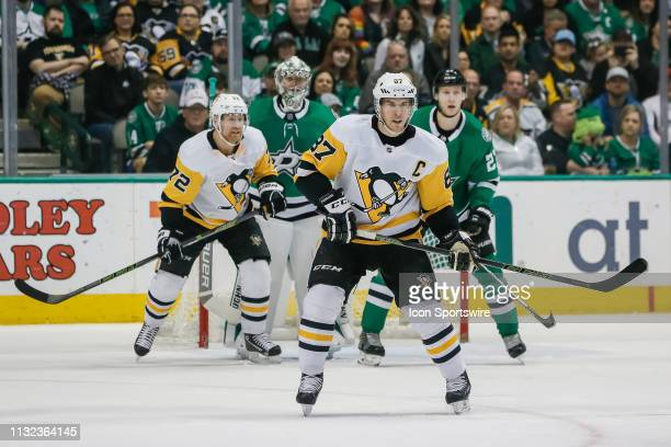 Pittsburgh Penguins center Sidney Crosby waits for the puck during the game between the Dallas Stars and the Pittsburgh Penguins on March 23 2019 at...