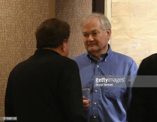 Pittsburgh Penguins Coowner Ron Burkle and Don Fehr Executive Director of the NHL Players Association discuss negotiations at the Westin Times Square...
