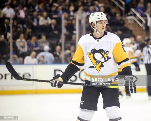 Pittsburgh Penguins Defenceman John Marino waits for play to resume during the game between the Pittsburgh Penguins and the New York Rangers on...