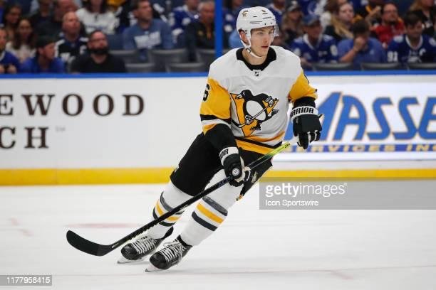 Pittsburgh Penguins defenseman John Marino skates during the NHL game between the Pittsburgh Penguins and Tampa Bay Lightning on October 23 2019 at...