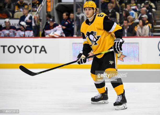 Pittsburgh Penguins Defenseman John Marino skates during the second period in the NHL game between the Pittsburgh Penguins and the Edmonton Oilers on...
