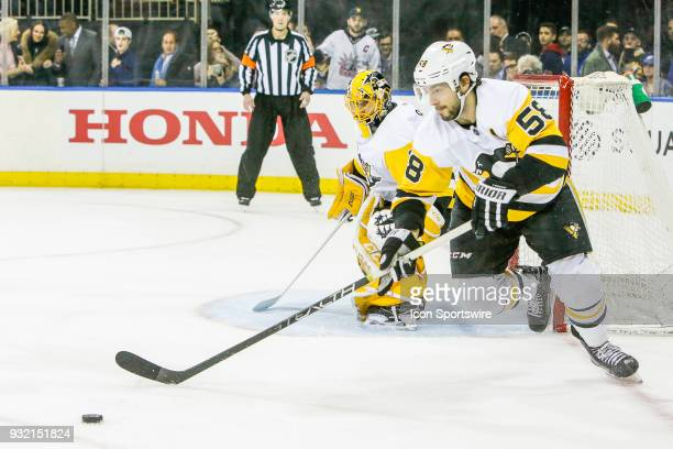 Pittsburgh Penguins defenseman Kris Letang skates with the puck after save by Pittsburgh Penguins goaltender Casey DeSmith during the Pittsburgh...
