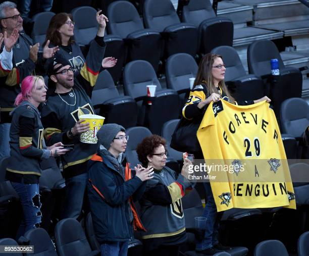 Pittsburgh Penguins fan holds up a sign supporting former Penguin MarcAndre Fleury of the Vegas Golden Knights after the team defeated the Penguins...