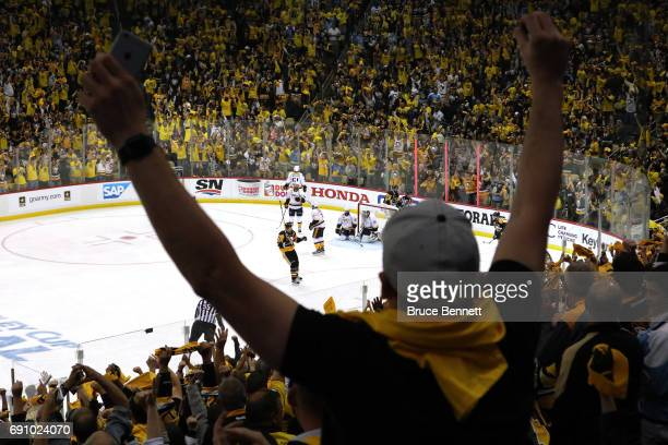 Pittsburgh Penguins fan reacts after a goal during the third period in Game Two of the 2017 NHL Stanley Cup Final at PPG Paints Arena on May 31 2017...