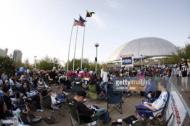 Pittsburgh Penguins fans support their team by collecting outside to watch the game against the Ottawa Senators on a large screen before Game Five of...