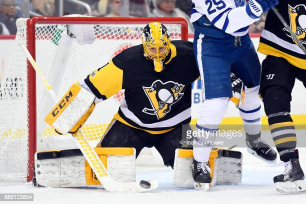 Pittsburgh Penguins Goalie Casey DeSmith makes a save during the third period in the NHL game between the Pittsburgh Penguins and the Toronto Maple...