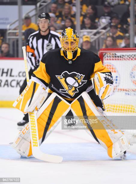 Pittsburgh Penguins Goalie Casey DeSmith tends net during the first period in the NHL game between the Pittsburgh Penguins and the Ottawa Senators on...