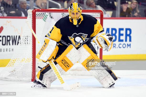 Pittsburgh Penguins Goalie Casey DeSmith tends net during the third period in the NHL game between the Pittsburgh Penguins and the Toronto Maple...