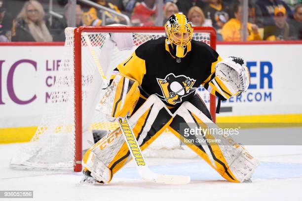 Pittsburgh Penguins Goalie Casey DeSmith tends net during the third period in the NHL game between the Pittsburgh Penguins and the Montreal Canadiens...