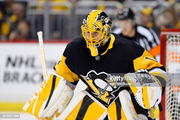 Pittsburgh Penguins Goalie Casey DeSmith tends net during the third period in the NHL game between the Pittsburgh Penguins and the Ottawa Senators on...