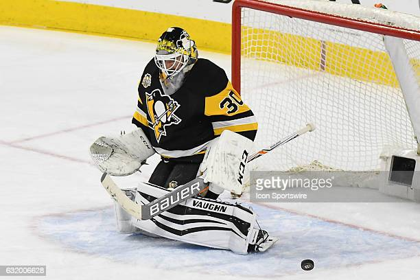 Pittsburgh Penguins goalie JS Aubin makes a save during a NHL hockey game between the Philadelphia Flyers Alumni and the Pittsburgh Penguins Alumni...