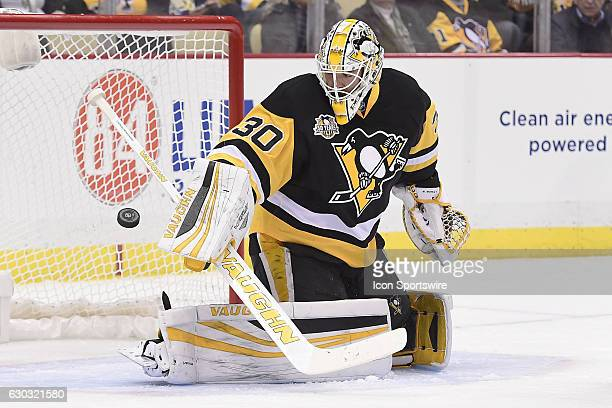 Pittsburgh Penguins Goalie Matt Murray makes a save during the first period in the NHL game between the Pittsburgh Penguins and the New York Rangers...