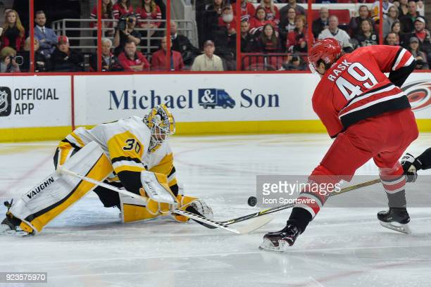 Pittsburgh Penguins Goalie Matt Murray makes a save on a shot attempt by Carolina Hurricanes Center Victor Rask during a game between the Pittsburgh...